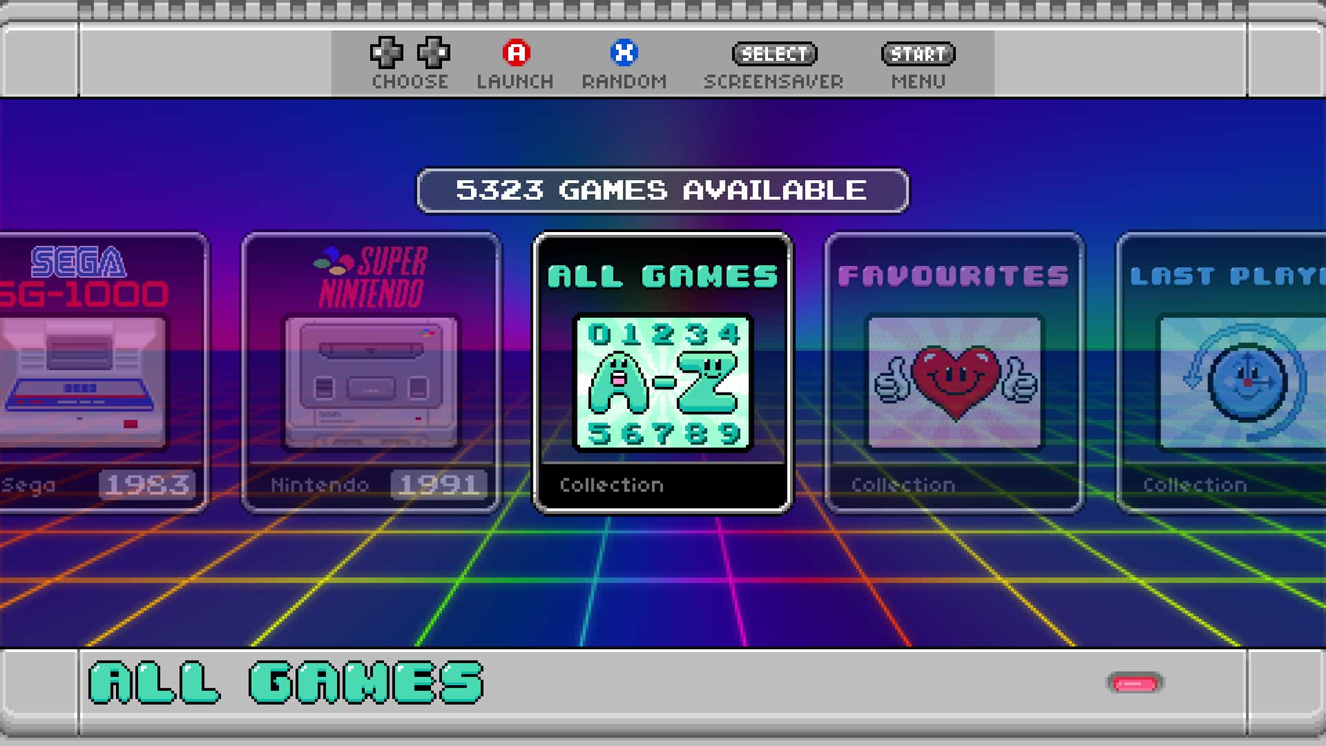 The Retro Player Menu All Games